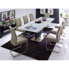 Helio Extendable Glass Dining Table With 8 Alamona Truffle Chair