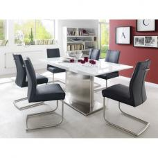 Helio Extendable Glass Dining Table With 6 Alamona Black Chairs
