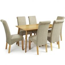 Wilmington Dining Table Large In Oak With 6 Ameera Sage Chairs