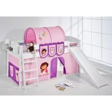 IDA Dora Children Bed In White With Sliding And Curtains