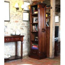 Belarus Narrow Alcove Open Bookcase In Mahogany With 1 Drawer