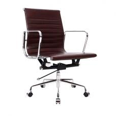 Medlin Home Office Chair In Brown Faux Leather With Chrome Frame