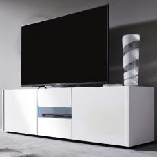 Cannes Wide LCD TV Stand In White Gloss With 3 Doors And LEDs