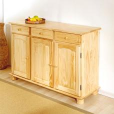 Abaco Solid Pine Sideboard In Natural With 3 Door And 3 Drawer