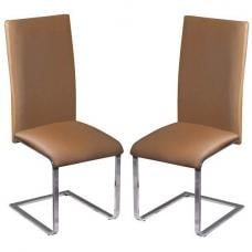 Arizona Brown Faux Leather Dining Chairs In A Pair