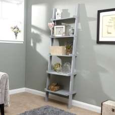 Irene Ladder Style Wall Mounted Shelving Unit In Grey