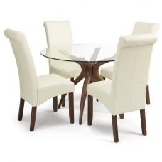 Jenson Round Glass Dining Table 4 Ameera Cream PU Leather Chairs