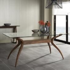 Jenson Dining Table Rectangular In Glass Top With Walnut Legs