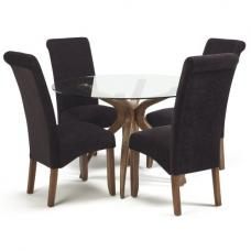 Jenson Round Glass Dining Table And 4 Ameera Chairs In Aubergine