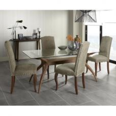 Jenson Glass Dining Table With 6 Madeline Dining Chairs In Bark