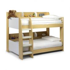 Domino Bunk Bed In Maple White With Shelving Unit In Each Bunk
