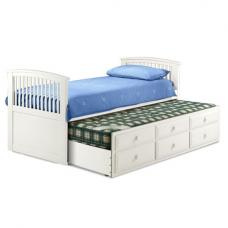 Hornblower Cabin Bed With 3 Drawer In White Stone Finish