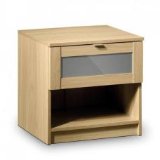 Simo Light Oak Bedside Cabinet With Shelf And Drawer