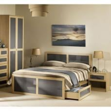Simo Light Oak Finish King Size Bed With Underbed Drawer