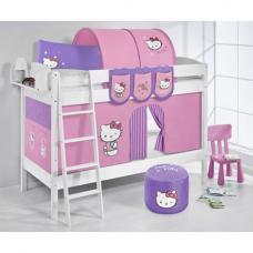 Jelle Hello Kitty Children Bunk Bed In White With Curtains