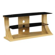 Curved Shape Wooden Tv Stand With Black Glass