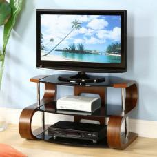 Curved Wooden LCD TV Stand Large In Walnut Veneer