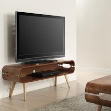 Marin Wide TV Stand In Walnut With Solid Ash Spindle Shape Legs