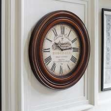 Sidney Circular Frame Wall Clock In Teak Finish