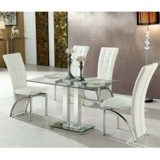 Jet Small Clear Glass Dining Table With 4 Ravenna White Chairs