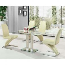 Jet Dining Table Small In Clear Glass With 4 Demi Cream Chairs