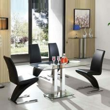 Jet Glass Dining Table Small In Clear With 4 Demi Black Chairs