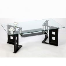 Juliette Coffee Table In Clear Glass With Black PU Legs