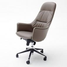 Kareno Swivel Office Chair In Cappuccino PU Leather With Castors