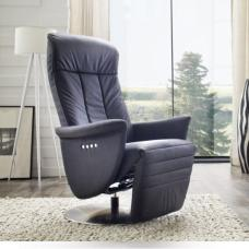 Saltos Relaxing Chair In Black Leather With Stainless Steel Base