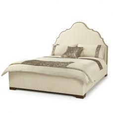 Lorence Bed In Pearl Fabric With Wooden Legs