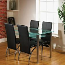 Maira Glass Dining Table With 4 Black Dining Chairs