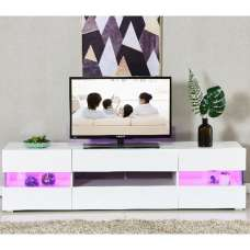 Evoque TV Stand In White With High Gloss Fronts And LED Lights