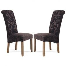 Ameera Dining Chair In Floral Aubergine Fabric Walnut in A Pair