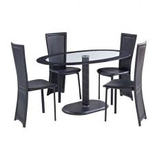 Elnora Black Oval Clear Glass Dining Table And 4 Dining Chairs
