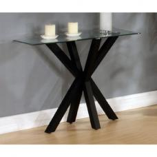 Alissa High Gloss Black Finish Clear Glass Top Console Table