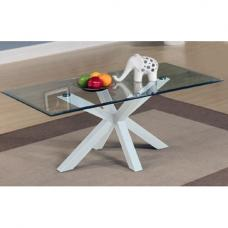 Alissa High Gloss White finish Clear Glass Top Coffee Table