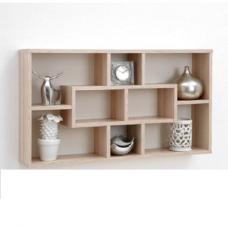 Lasse Bookcase Wall Shelves In Ashtree With 8 Compartments