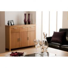 Lombok Sideboard In Oak With 3 Doors And Glass Inserts On Top