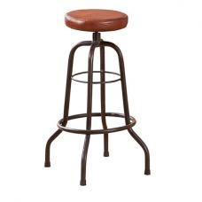 Longo Brown Leather Bar Stool With Black Metal Base