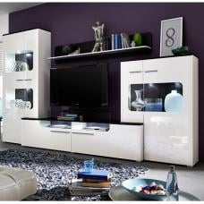 Foster Living Room Set In White Gloss Fronts With LED