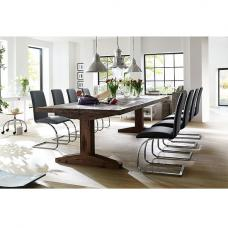 Lunch Pedestal Dining Table In Solid Oak And 6 Maui Black Chairs