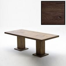 Mancinni 180cm Pedestal Dining Table In Solid Dark Oak