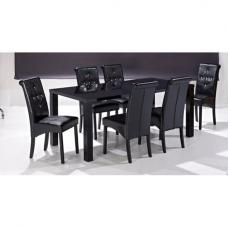Morna Black High Gloss Finish Large Dining Table Only