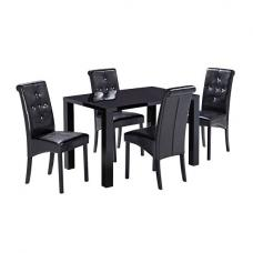Morna Black High Gloss Finish Dining Table Only