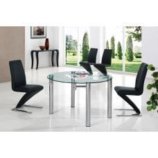 Oasis Round Extending Clear Glass Dining Table And 6 Z Chairs