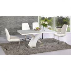 Mario Dining Table In White Glass Top With 6 White Dining Chairs