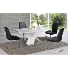 Mario Dining Table In White Glass Top With 4 Black Dining Chairs