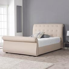 Rickards Opulent Bed In Oatmeal With Dark Wooden Feet