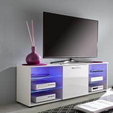 Anderson Modern LCD TV Stand In White Gloss Fronts And LED
