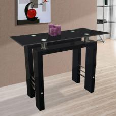 Kontrast Black Glass Console Table in High Gloss Leg